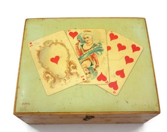Antique Decoupage Box - Brooks Soft Finish Sewing Thread, Playing Cards, Queen of Hearts 1900s