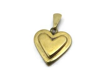 Vermeil Heart Pendant - Gold over Silver Heart