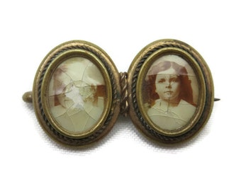 Antique Photo Brooch - Mourning