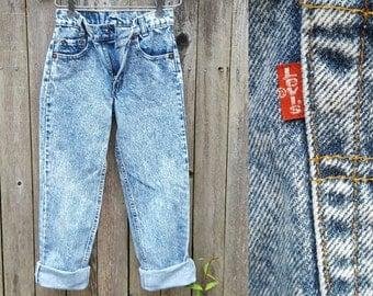 Vintage Kids Jeans  // Vtg 80s LEVI'S 505 Made in the USA Distressed Acid Wash Denim Jeans  //  child size 8/9/10/11 yrs