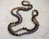 "Long Hand-knotted Necklace with Gemstones & Glass Beads ""Midnight Carnival 2' - Item 1489b"