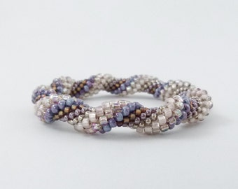 Bead Crochet Rope Bangle, Spiral Design in Lavender, Copper, Champagne and Blush - Item 1571