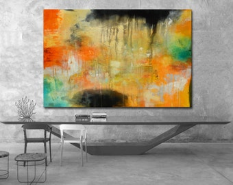 Abstract painting, orange painting, yellow green painting, orange abstract painting, original painting on canvas, large canvas, office art