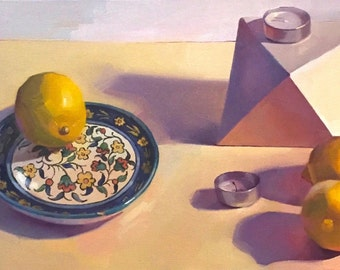 "Art painting still life ""White Object, Lemons"" orignial oil on canvas by Sarah Sedwick"
