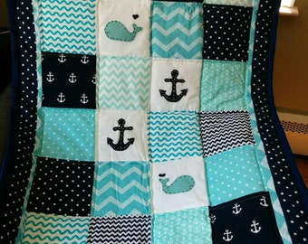 Nautical Anchor and Whale Baby Quilt in Aqua and Navy Blue