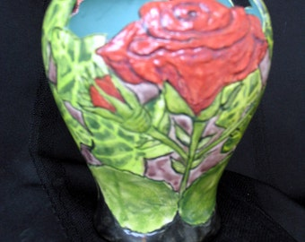 Vase/Candle Holder Red Rose & Ivy Etched and Hand Painted Motif on Etsy