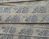 Italy 2 Yards Vintage Cotton Edging Embroidered Folkloric Fabric Sewing Trim Flowers  IT 9