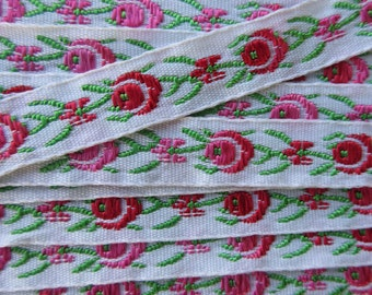 3-1/4 Yards Fabric Trim Jacquard Ribbon Red Pink Rose  BD-28
