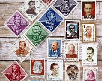 20 USED postage stamps faces perfect for postage stamp people projects vintage world stamp lot faces Lot 2