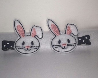 Easter Bunny Rabbit Black White Pink Felt Feltie Hairclips Clips Clippies Girls Toddler Hairbow Accessories Bunnie