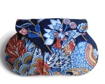 Vintage Floral on Navy, pleated clutch, earth tones, small handbag