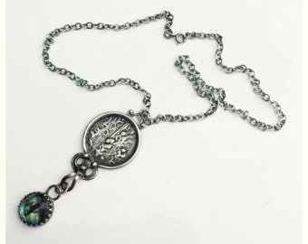 Abalone and Woodlands Pendant Silver on 16,18, or 22 inch Chain