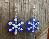 Lampwork Style Glass Snowflake Earrings