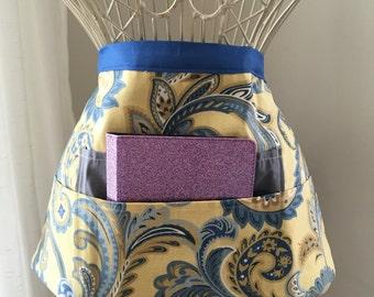 Vendor Half Waist Apron Craft Art Teacher iPad Blue Yellow Gray Fabric (4 Pockets)