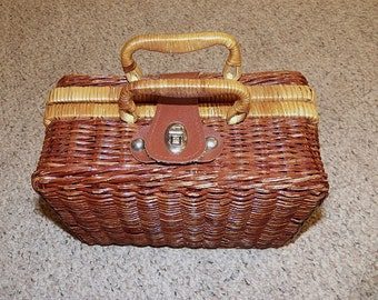 Vintage Purse Wicker Rattan Woven Box Picnic Basket Handbag