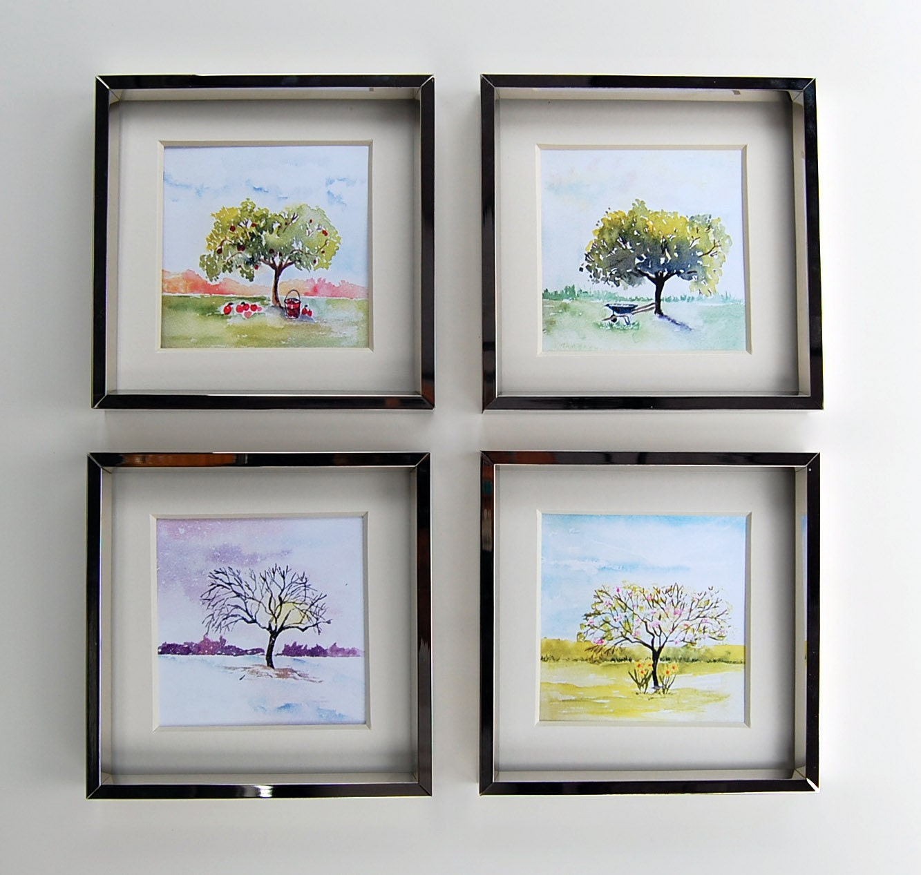 Four seasons art watercolor painting wall decor spring for 4 season decoration