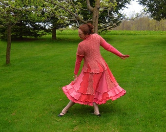 Alice Wool Free frankensweater dress, women's size 14-16 upcycled recycled knit dress