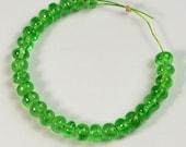 3.8mm-4.1mm Tsavorite Green Garnet Smooth Plain Rondelle Beads 3 inch Strand
