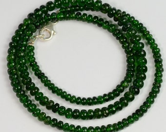 3.3mm-5mm Gem Chrome Green Tourmaline Smooth Rondelle Beads 18 inch strand