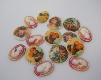 Lot of Vintage Plastic Cabochons Geisha St Anthony Angels Flapper Girls Face