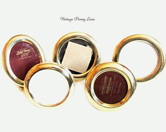 Mini Brass Picture Frames, Vintage Miniature Lot, Round / Oval