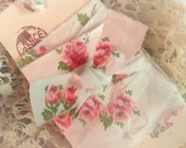 4 Yards Vintage Rose Floral Ribbon Trim - Hand Frayed - French Stamped Gift Tag