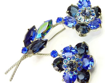 Vintage Czech Blue Rhinestone Flower Brooch