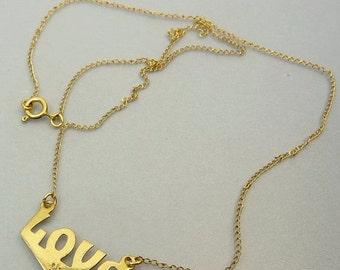 Vintage Gold Filed LOVE Necklace Diamond Name Necklace