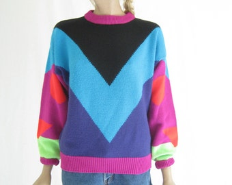 Vintage 80's Color Block Abstract Print Sweater.
