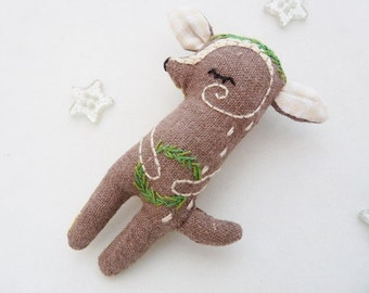 Fawn Kids Necklace Embroidered Miniature Plush Woodland