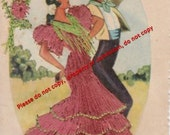Vintage Silk Embroidered Huelva Postcard Made in Spain