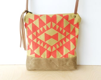 weekdayer - large • crossbody bag - geometric print • neon - hot pink geometric print - screenprinted - waxed canvas • vukani