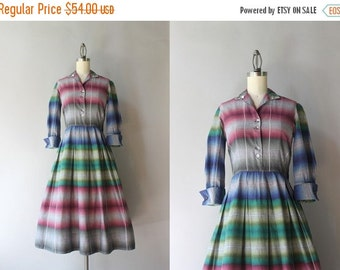 STOREWIDE SALE 1950s Dress / Vintage 50s Shadow Plaid Dress / Fifties Pleated Plaid Cotton Day Dress