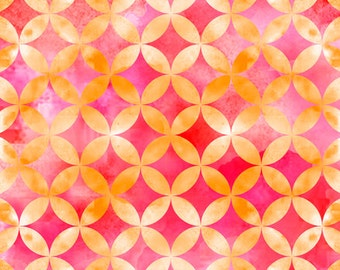 Sun-Kissed Circle Geo Pink Watercolor Quilting Treasures Fabric 1 yard