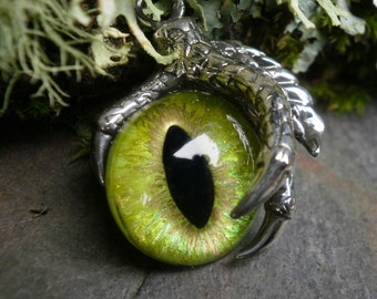 Gothic Steampunk Single Claw Pendant with Lime Green Eye