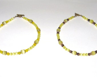 Beautiful Yellow Cats Eye & Glass Beaded Anklets, Pair