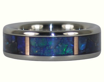 Black Opal and Rose Gold Titanium Ring Band