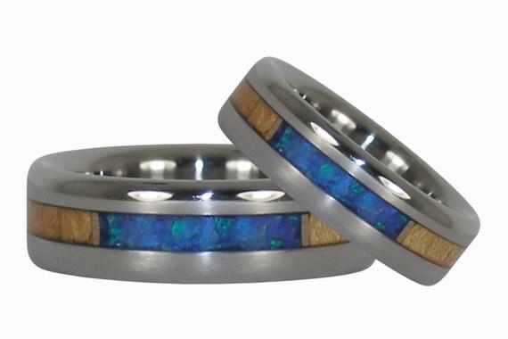 Blue Opal and Light Koa Wood Rings