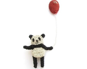 Panda brooch - panda holding a balloon,  panda bear jewelry, animal brooch, crochet wire jewelry, bear brooch, unique animal pin