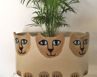 Custom Cat pottery planter: feline decor handmade Jardiniere  herb planter stoneware ready choose markings and sizes