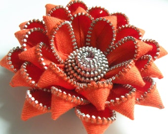 Orange Recycled Zipper Brooch or Hair Clip by Re Zip It