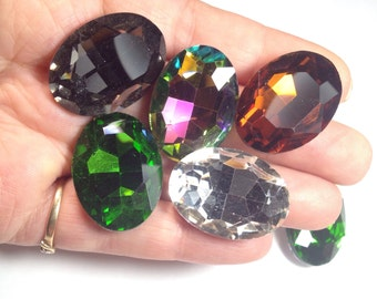 5 oval faceted glass cabochons, 29mmx21mmx9mm, variety, rainbow