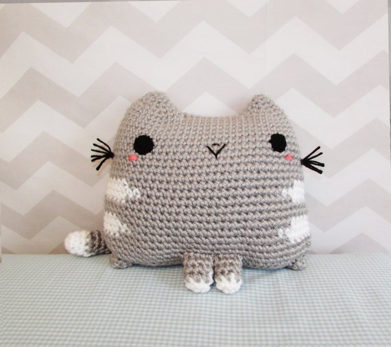 Cute Neko Pillow : stuffed animal crochet pattern, crochet throw pillow, kawaii cute amigurumi cat kitty neko ...