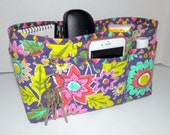 Quilted Purse Organizer Insert With Enclosed Bottom Large - Purple Floral