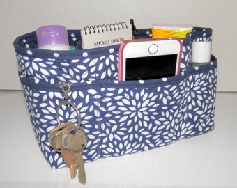 "Purse Organizer Insert/Enclosed Bottom  4"" Depth/ Navy and White Floral Burst"