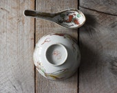 Vintage Chinese Porcelain Rice Bowl and Spoon, Jiangxi, Red Dragon Bowl, 1930s, Table Wares, Baskets and Bowls