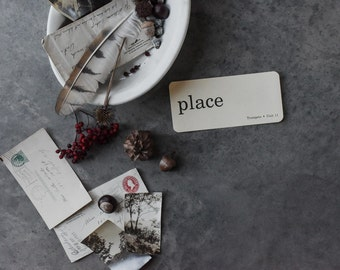 """Vintage Flash Cards, """"Place """", Text Art, Wall Decor, Paper and Party Supplies, Home Schooling, Craft Supplies, Home Decor"""