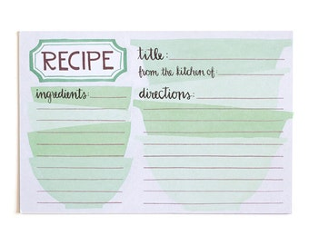 Green Mixing Bowls Recipe Cards - Set of 50 // 1canoe2 // Hand Illustrated