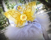 Yellow & Grey Tutu Set Butterfly Fairy Wings Baby Girl Toddler Infant Newborn Preemie Woodland Princess Gray Flower Headband Bow Outfit Gift