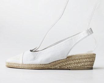 1990's Andre Assous Espadrilles Slingback Wedges Sandals